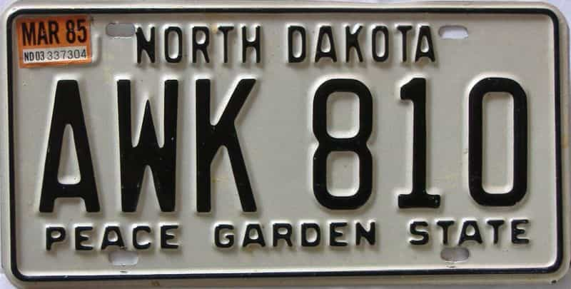 1985 North Dakota  (Single) license plate for sale