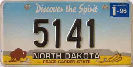 1996 North Dakota (Single) license plate for sale