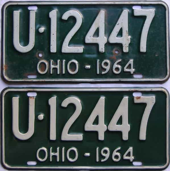 1964 Ohio  (Pair) license plate for sale
