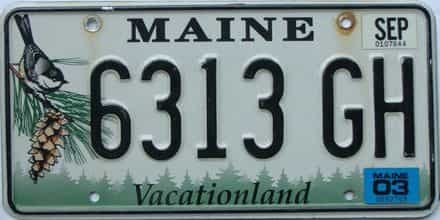 2003 Maine  (Single) license plate for sale
