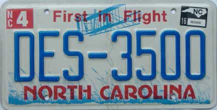 2016 North Carolina license plate for sale