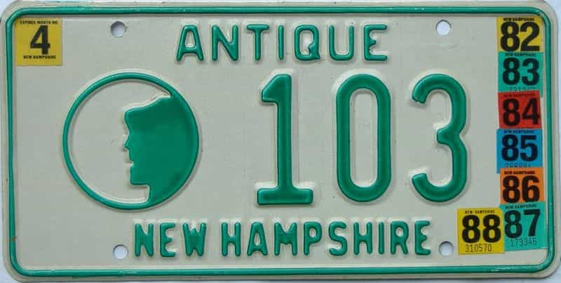 1988 New Hampshire (Antique) license plate for sale