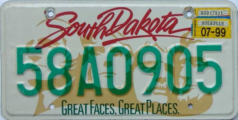 1999 South Dakota  (Single) license plate for sale
