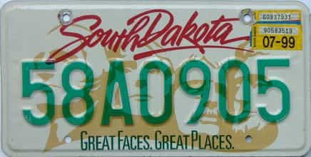 1999 South Dakota  (Single) license plate for sale