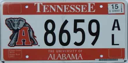 2015 Tennessee license plate for sale