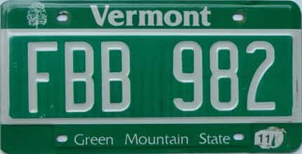 2011 Vermont  (Single) license plate for sale