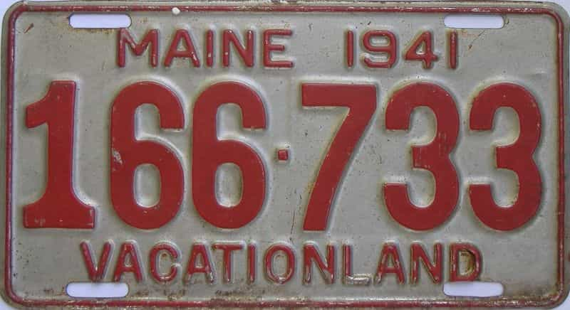 1941 ME (Single) license plate for sale