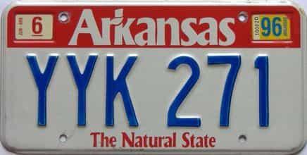 1996 Arkansas license plate for sale