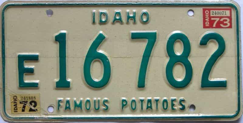 1973 Idaho  (Single) license plate for sale