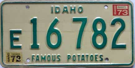 1973 Idaho (Single) license plate for sale