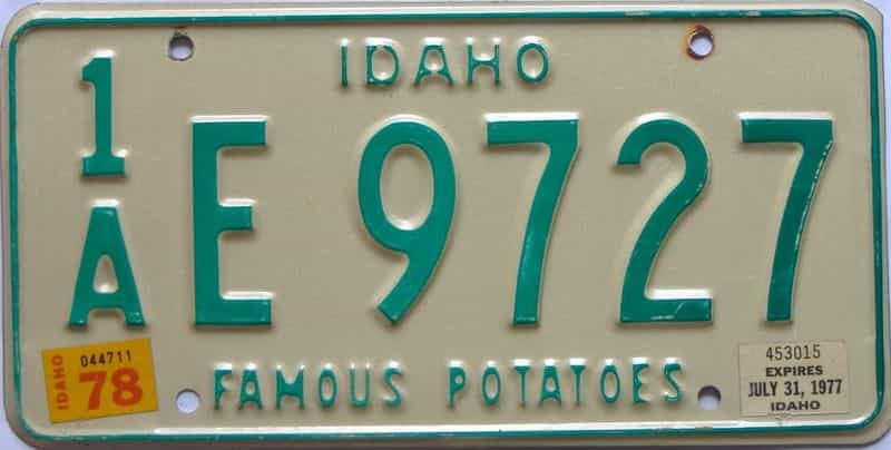 1978 Idaho  (Single) license plate for sale