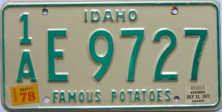 1978 Idaho (Single) license plate for sale