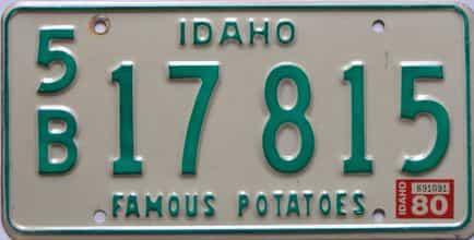 1980 Idaho  (Single) license plate for sale