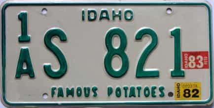 1983 Idaho  (Single) license plate for sale