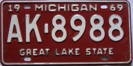 1969 Michigan license plate for sale