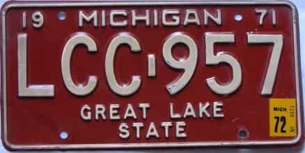 1972 Michigan (Single) license plate for sale