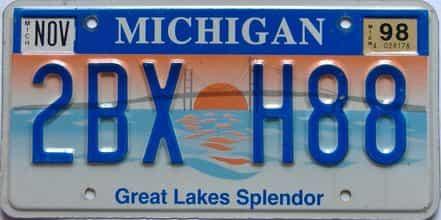 1998 Michigan license plate for sale
