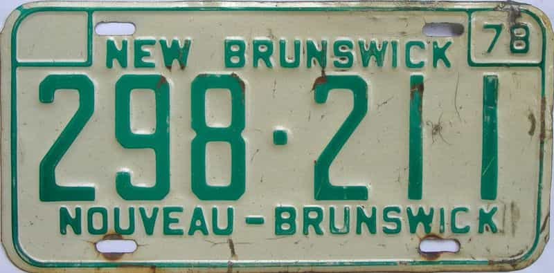1978 New Brunswick (Single) license plate for sale