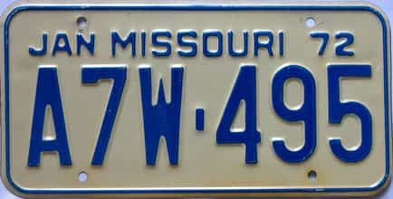 1972 Missouri (Single) license plate for sale
