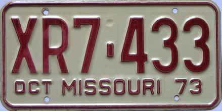 1973 Missouri (Single) license plate for sale