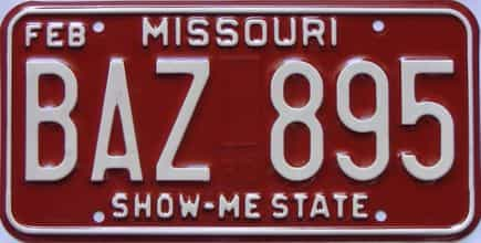 1980 Missouri (Single) license plate for sale