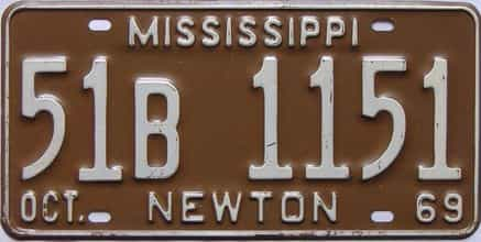 1969 Mississippi license plate for sale