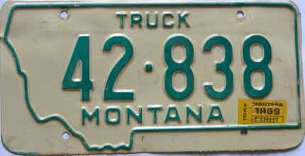 1969 Montana (Truck) license plate for sale
