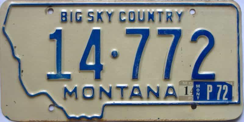 1972 Montana  (Single) license plate for sale