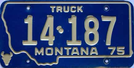 1975 Montana  (Single) license plate for sale