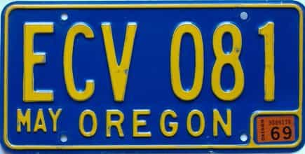 1969 Oregon (Single) license plate for sale