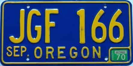 1970 Oregon (Single) license plate for sale