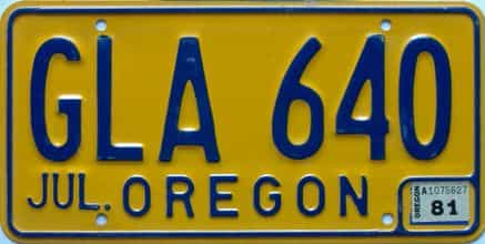 1981 Oregon (Single) license plate for sale