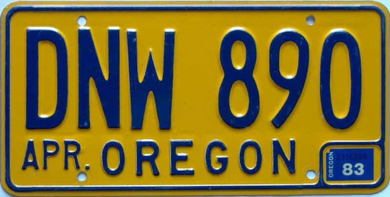 1983 Oregon  (Single) license plate for sale