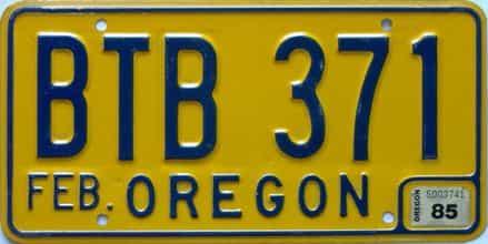1985 Oregon (Single) license plate for sale
