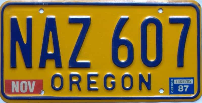 1987 Oregon  (Single) license plate for sale