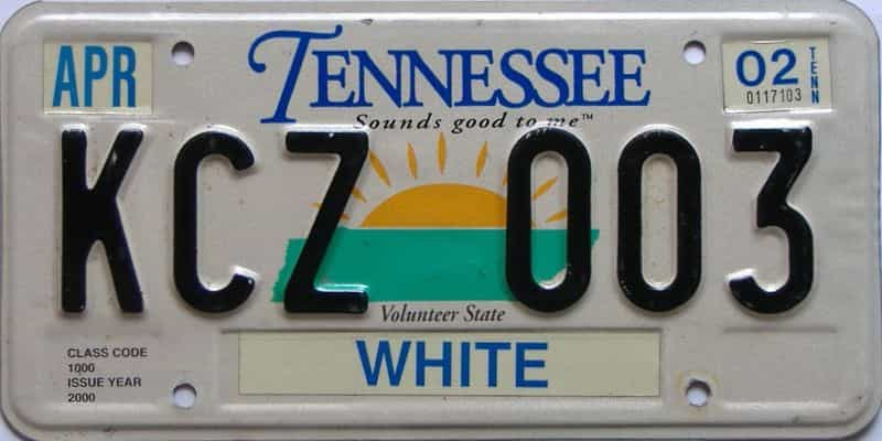 2002 Tennessee license plate for sale