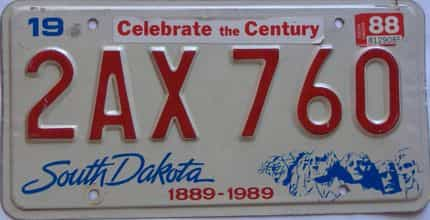 1988 South Dakota  (Single) license plate for sale