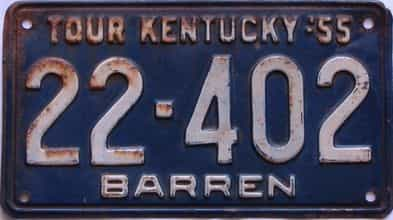 1955 Kentucky license plate for sale