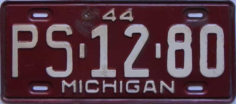 1944 Michigan license plate for sale