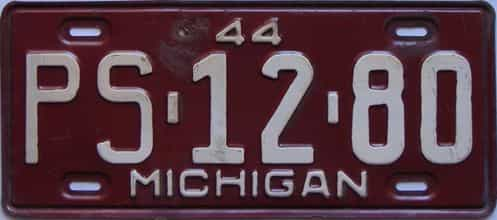 1944 Michigan license plate for sale