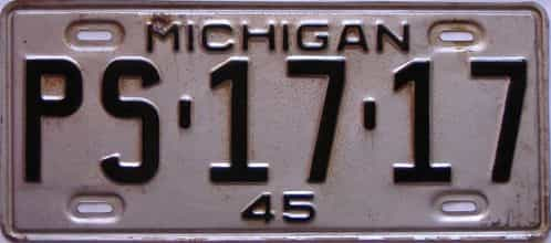 1945 Michigan license plate for sale