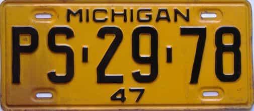 1947 Michigan license plate for sale