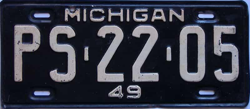 1949 Michigan license plate for sale