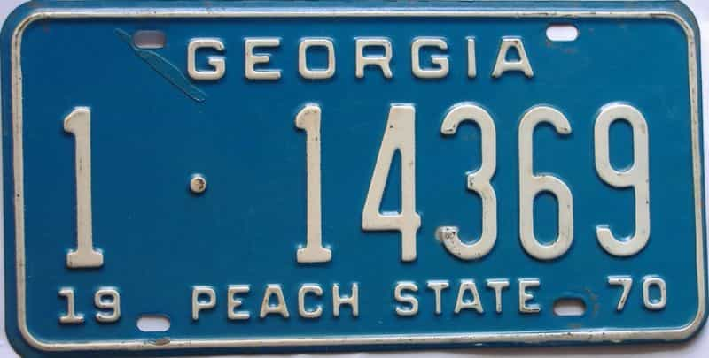YOM 1970 Georgia (Fulton) license plate for sale