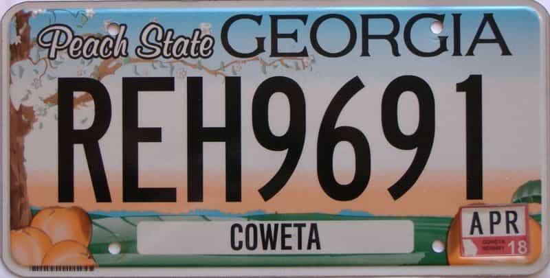 2018 Georgia Counties (Coweta) license plate for sale