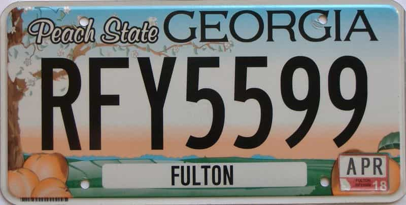 2018 Georgia Counties (Fulton) license plate for sale