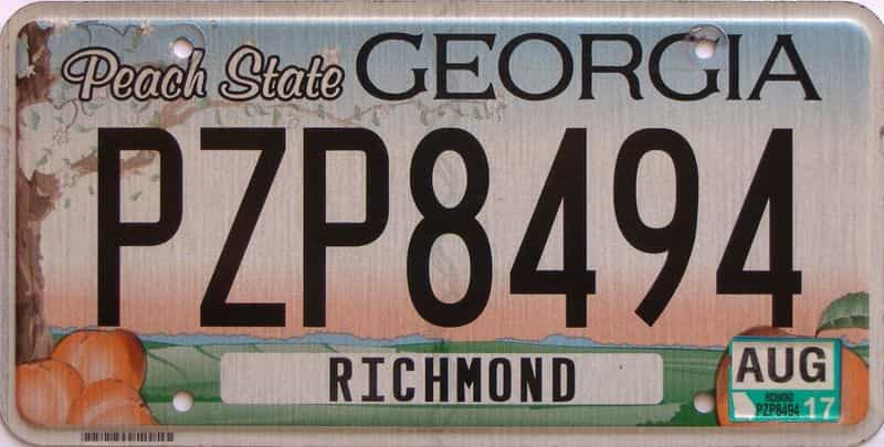 2017 Georgia Counties (Richmond) license plate for sale