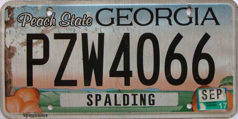 2017 Georgia Counties (Spalding) license plate for sale