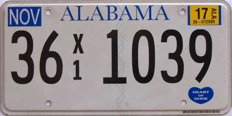 2017 Alabama  (Non Passenger) license plate for sale