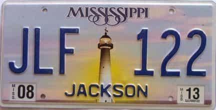 2013 Mississippi license plate for sale